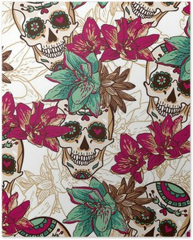 Poster HD Cranio, cuori e fiori Seamless Background