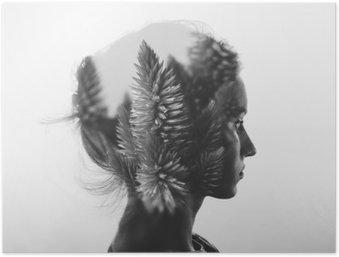 Poster HD Creativo doppia esposizione con il ritratto di giovane ragazza e fiori, in bianco e nero