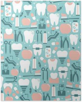 Poster HD Dental Care grafica su sfondo azzurro