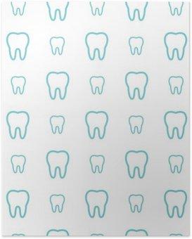 Poster HD Denti su sfondo bianco. Vector seamless dentale modello.