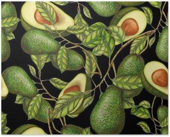 Poster HD Disegnati a mano avocado su sfondo scuro, seamless