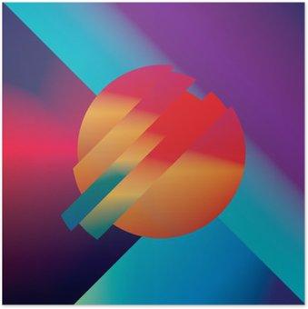 Poster HD Disegno materiale vettore sfondo astratto con forme geometriche isometriche. Vivace, brillante, simbolo colorato lucido per carta da parati.