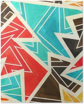 Poster HD Giovani disegno geometrico senza soluzione di continuità con effetto grunge