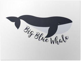 Poster HD Illustrazione vettoriale di balena. simbolo di progettazione