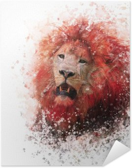Poster HD Lion Head acquerello