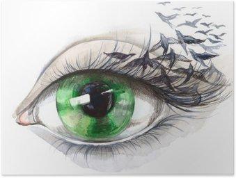 Poster HD Occhio con gli uccelli (serie C)