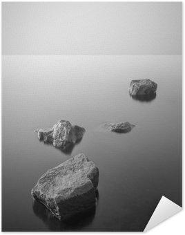 Poster HD Paesaggio nebbioso minimalista. Bianco e nero.