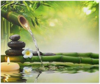 Poster HD Pietre spa in giardino con acqua di flusso