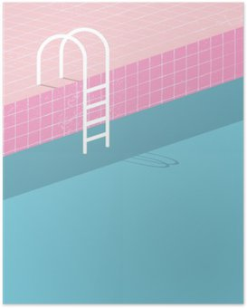 Poster HD Piscina in stile vintage. Vecchie piastrelle retrò rosa e scala bianca. poster modello Estate sfondo.