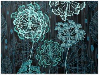 Poster HD Seamless pattern di fiori astratti. backgrou floreale disegnato a mano