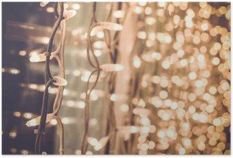Poster Hell herrlich schöne Weihnachtsbeleuchtung auf dem Fenster in der
