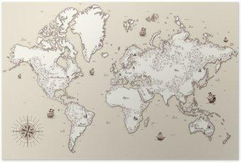 Poster Hohe detaillierte, Weltkarte mit dekorativen Elementen