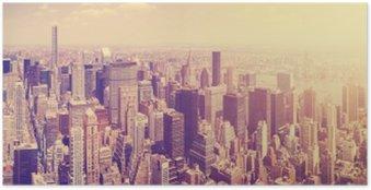 Poster Jahrgang getönten Manhattan Skyline bei Sonnenuntergang, NYC, USA.