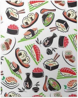 Poster Japanische Meeresfrüchte-Küche nahtlose Muster