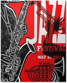 Poster Jazz Poster mit Saxophonist