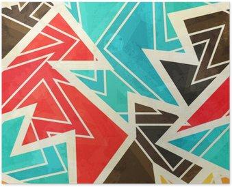Poster Jugend geometrische nahtlose Muster mit Grunge-Effekt