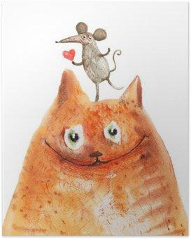 Poster Katze mit Mause