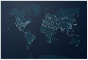 Poster Kommunikationsnetzkarte der Welt