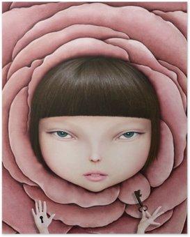 Poster Konzeptionelle Darstellung oder ein Plakat mit dem Kopf eines Mädchens in Rosenblüte mit Schlüssel in der Hand.