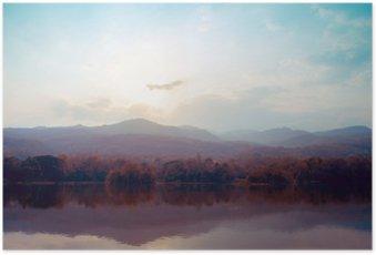 Poster Landschaft von See Berge im Herbst - Vintage-Stile.