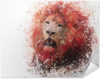 Poster Lion Head acquerello