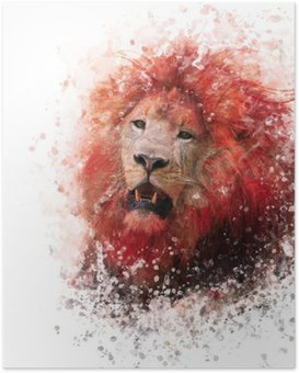 Poster Lion Head Aquarell