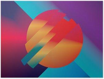 Poster Material Design abstrakte Vektor-Hintergrund mit geometrischen isometrischen Formen. Klar, hell, glänzend bunten Symbol für den Hintergrund.