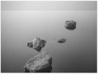 Poster Minimalist neblige Landschaft. Schwarz und weiß.