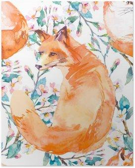 Poster Modello della fauna selvatica. Fox e rami fioriti. .