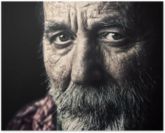 Poster Molto vecchio senzatetto uomo ritratto anziano