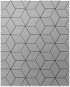 Poster Nahtlose geometrische Muster mit Würfeln.