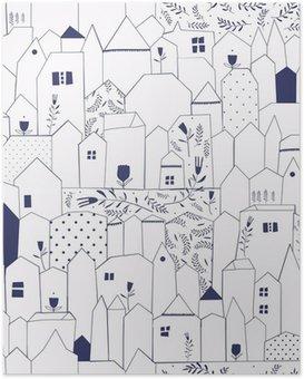 Poster Nahtlose Muster. Abbildung Städten im Vintage-Stil.