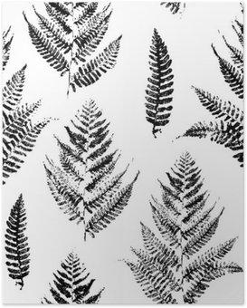 Poster Nahtlose Muster mit Farbe druckt Farnblättern