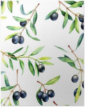 Poster Nahtlose Muster mit Olivenzweigen. Hand gezeichnet Aquarell-Illustration.