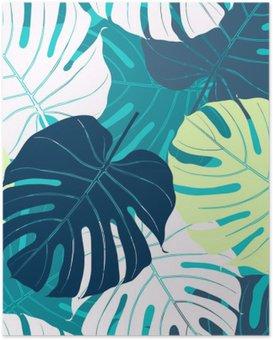 Poster Nahtlose Muster mit Palmblättern