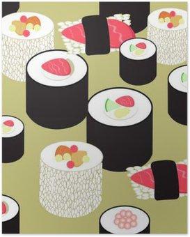 Poster Nahtlose Muster mit Sushi und Rollen auf dem Ocker Hintergrund. v