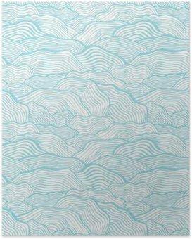 Poster Nahtlose Muster mit Wellen Skala Textur