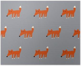 Poster Nahtlose niedlichen Fuchs Muster