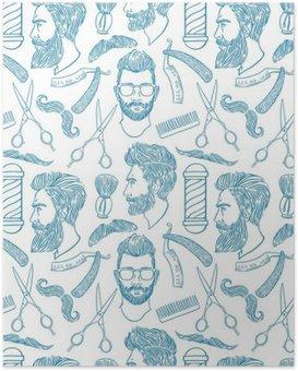 Poster Nahtlose Skizze Friseurzubehör