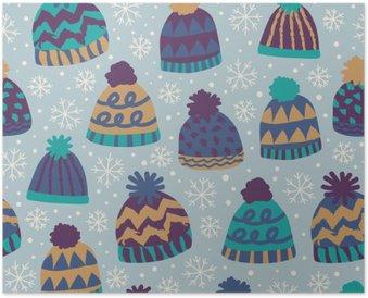 Poster Nahtlose Wintermuster mit Kappen und Schneeflocken
