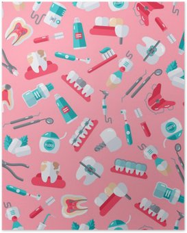 Poster Nahtlose Zahnarzt-Muster auf rosa Hintergrund