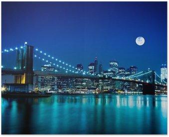 Poster Notturno Ponte di Brooklyn e New York