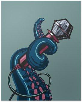 Poster Octopus Tentakel hält ein Mikrofon. Die Vorlage für Musik Poster
