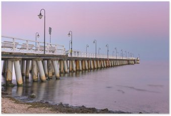 Poster Ostsee Pier in Gdynia Orlowo bei Sonnenuntergang, Polen