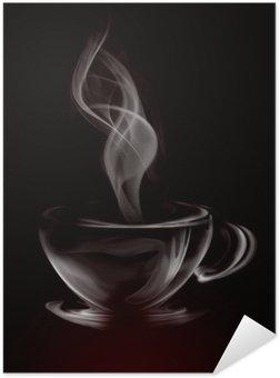 Poster Pixerstick Artistico fumo Illustrazione Tazza di caffè su fondo nero