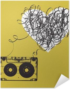 Poster Pixerstick Audiocassette con nastro aggrovigliato. a forma di haert