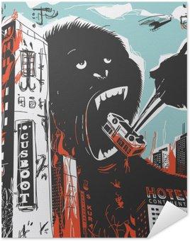 Poster Pixerstick Big Gorilla distrugge Città