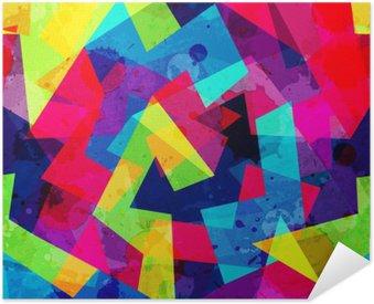 Poster Pixerstick Brillante disegno geometrico senza soluzione di continuità con effetto grunge