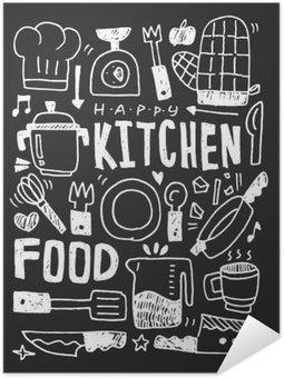 Poster Pixerstick Cucina elementi scarabocchi mano linea tracciata icona, eps10