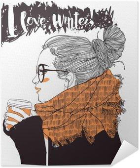 Poster Pixerstick Giovane e bella donna con tazza di caffè